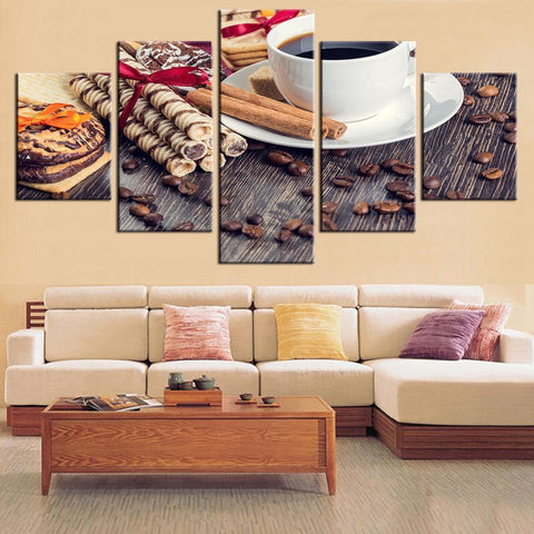 New Day Stock Store Canvas Paintings Small / Framed Coffee and Dessert 5 Piece Canvas Set