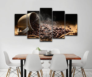 New Day Stock Store Canvas Paintings Small / Framed Coffee Beans 5 Piece Canvas Set