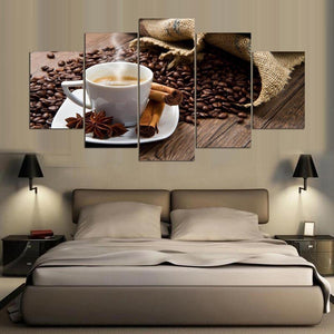 New Day Stock Store Canvas Paintings Small / Framed Coffee Cinnamon Kitchen 5 Piece Canvas Set