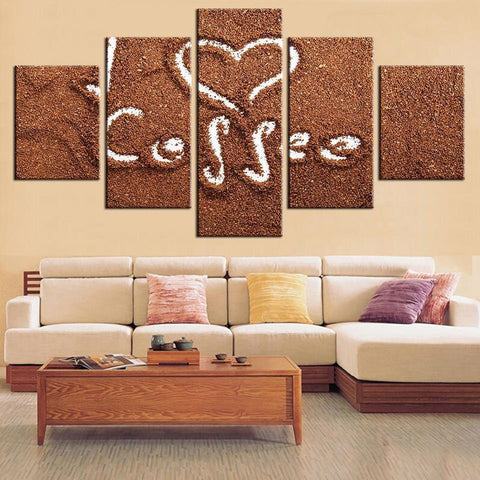 New Day Stock Store Canvas Paintings Small / Framed Coffee Draw Love 5 Piece Canvas Set