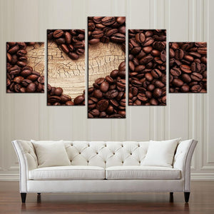 New Day Stock Store Canvas Paintings Small / Framed Coffee Heart Of Wood Kitchen 5 Piece Canvas Set