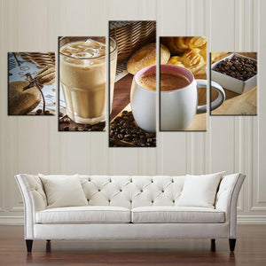 New Day Stock Store Canvas Paintings Small / Framed Coffee Iced Coffe Kitchen 5 Piece Canvas Set