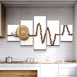 New Day Stock Store Canvas Paintings Small / Framed Coffee Life Kitchen 5 Piece Canvas Set