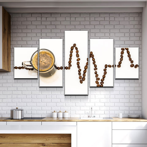 Image of New Day Stock Store Canvas Paintings Small / Framed Coffee Life Kitchen 5 Piece Canvas Set