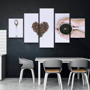 New Day Stock Store Canvas Paintings Small / Framed Coffee Love Kitchen 5 Piece Canvas Set