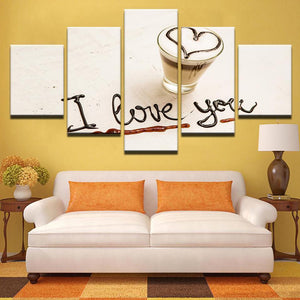 New Day Stock Store Canvas Paintings Small / Framed Coffee Love Macchiato 5 Piece Canvas Set