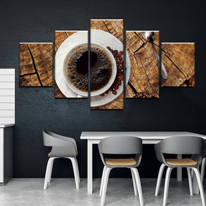 New Day Stock Store Canvas Paintings Small / Framed Coffee On Wood Kitchen 5 Piece Canvas Set
