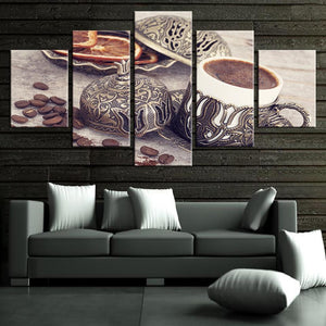 New Day Stock Store Canvas Paintings Small / Framed Coffee Vintage Kitchen 5 Piece Canvas Set