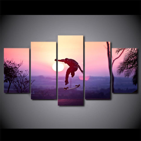 New Day Stock Store Canvas Paintings Sunset Skateboard 5 Piece Canvas Set