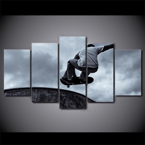 New Day Stock Store Canvas Paintings Vintage Skateboard Black And White 5 Piece Canvas Set