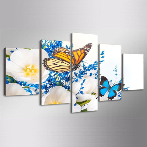 Image of New Day Stock Store Canvas Paintings Yellow & Blue Butterflies 5 Piece Canvas Set
