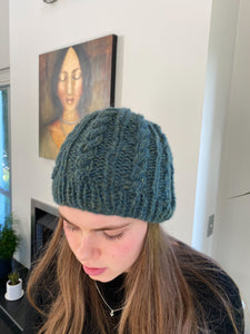 Wool beanie (hand knitted made to order)