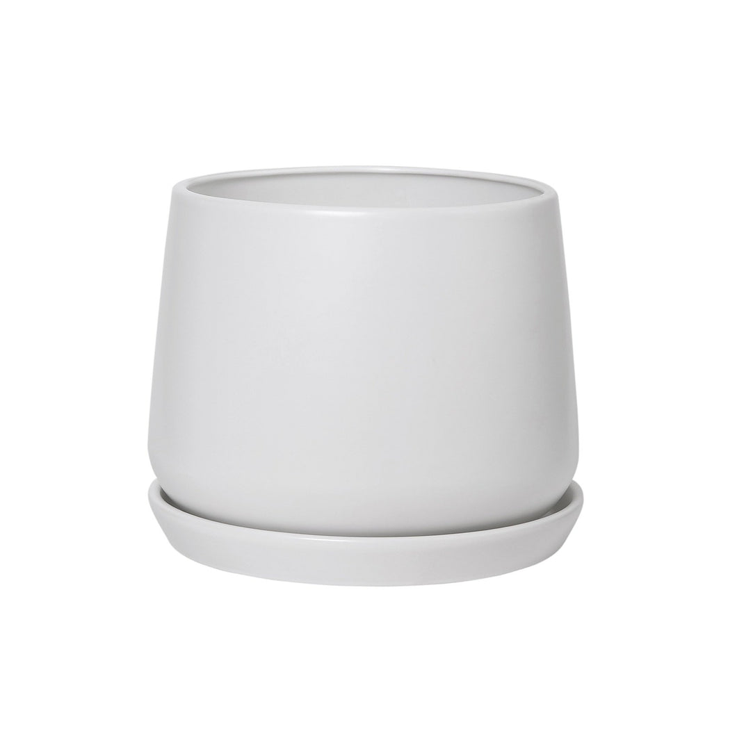 Copenhagen ceramic pot with matching base XL -  white