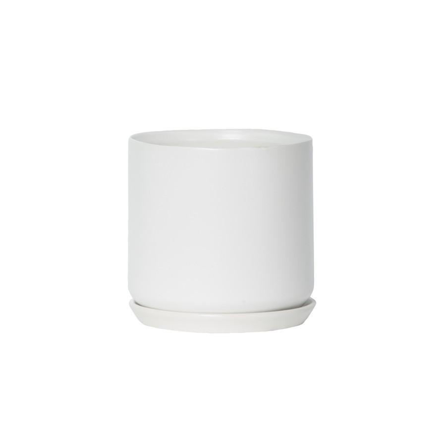 Large ceramic pot with matching base - Ice white