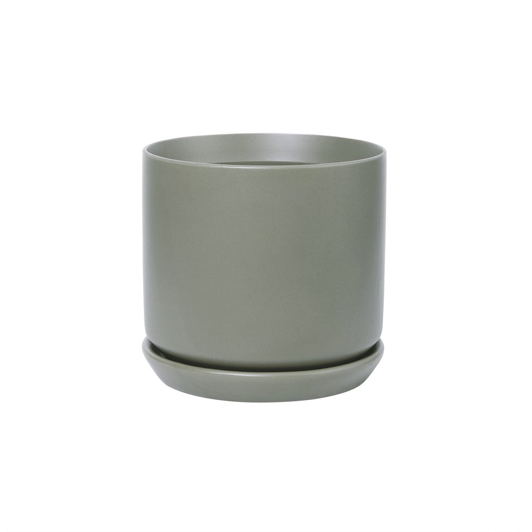 Medium ceramic pot with matching base - Medium Sage