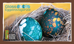 sandblasted hand crafted glass eggs from the Glass Academy