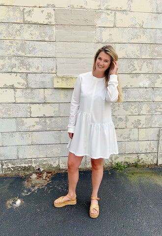 France in a white t-shirt dress | Chosen Women's Apparel