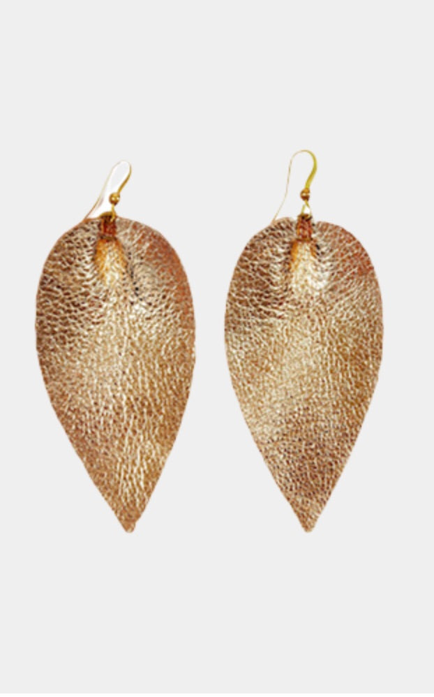 Leather leaf gold earring | Chosen Women's Apparel
