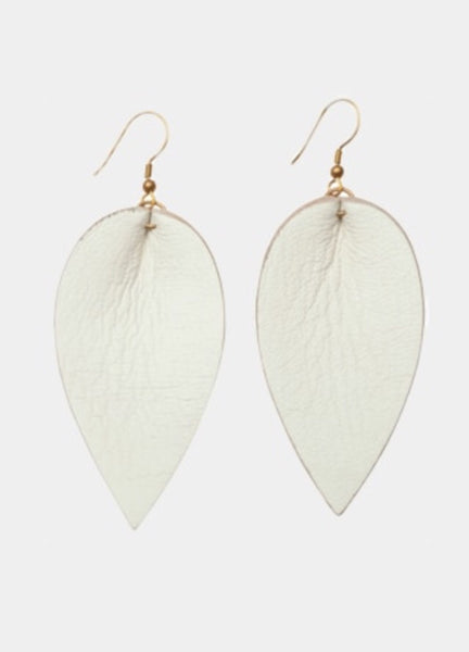 Leather leaf white earring | Chosen Women's Apparel