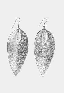 Silver leather leaf earring | Chosen Women's Apparel