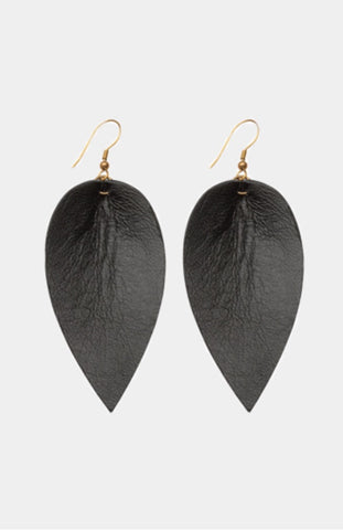 Leather leaf earring black | Chosen Women's Apparel
