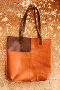 Two Tone Leather Tote | Chosen Women's Apparel