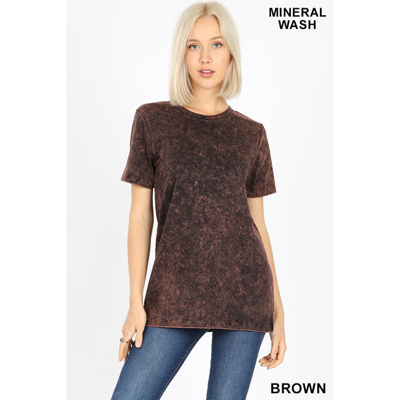 Mineral Washed Vintage T-shirt (Brown or Charcoal) - Sugar Honey Doll Boutique