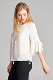 Black Ruffle Bell Sleeve Blouse