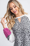 Rock Candy ~ Leopard Sweater With A Pop of Magenta
