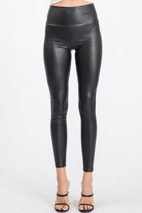 High Waisted Slim Fit Faux Leather Leggings - Black