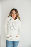SingleHood Sweatshirt - Oatmeal Floral Logo  (AA Collection) - Sugar Honey Doll Boutique