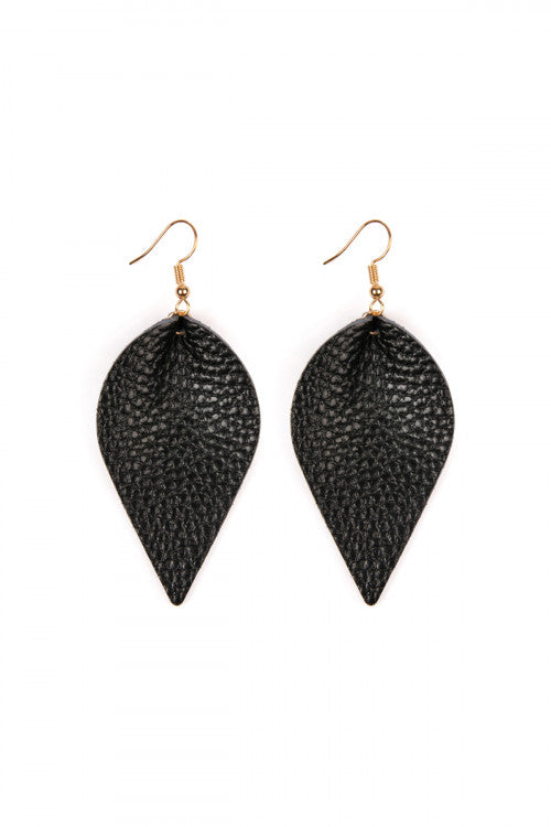 Teardrop Pinched Leather Earings-Black