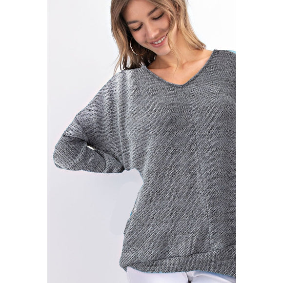 Two-Tone Boucle Knit Sweater (Grey or Mauve) - Sugar Honey Doll Boutique