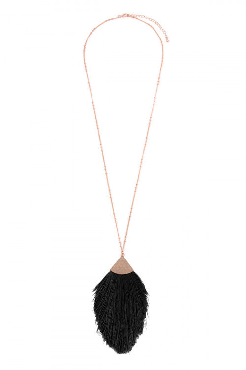 Oversized Rain Drop Tassel Necklace-Black