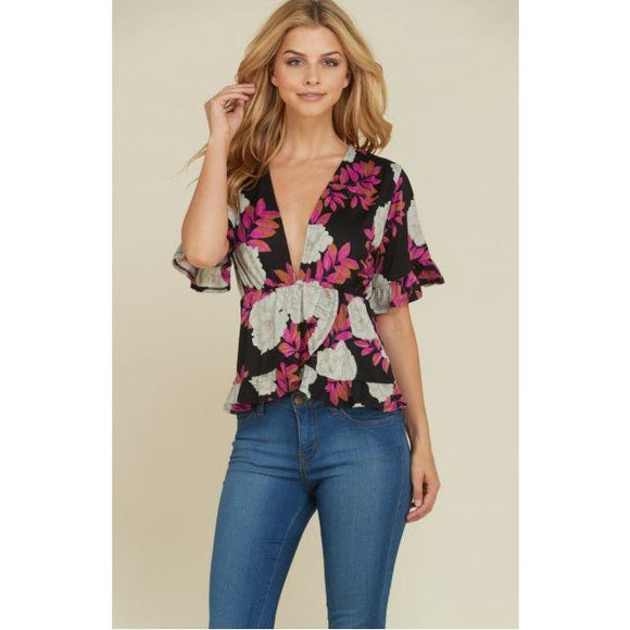 Ruffled Plunging Neckline Floral Top-Black & Pink