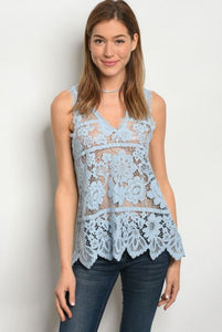 Blue Lace Crochet Tank Top