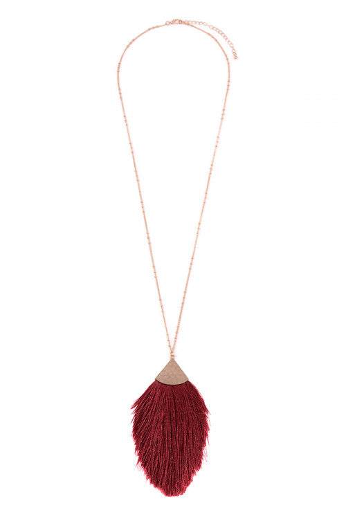 Oversized Rain-Drop Tassel Necklace-Burgundy - Sugar Honey Doll Boutique