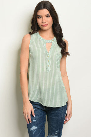 Sweet Tart ~ Sage & Ivory Tank Top - Sugar Honey Doll Boutique