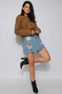 Distressed Knitted Sweater-Camel Color