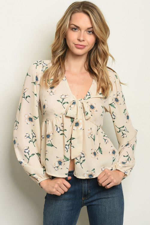 Cream Puff ~ Floral Blouse