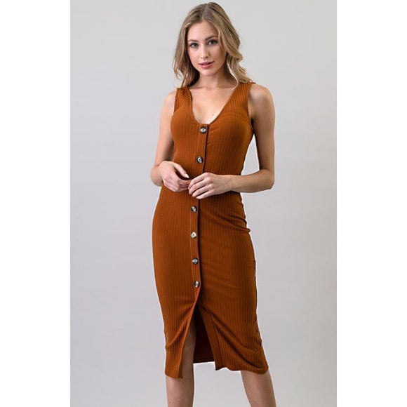 Pumpkin Pie ~ Terracotta Button Down Tank Dress