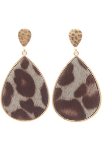 Leopard Teardrop Dangle Post Earrings (Grey, Ivory, Jet Black) - Sugar Honey Doll Boutique