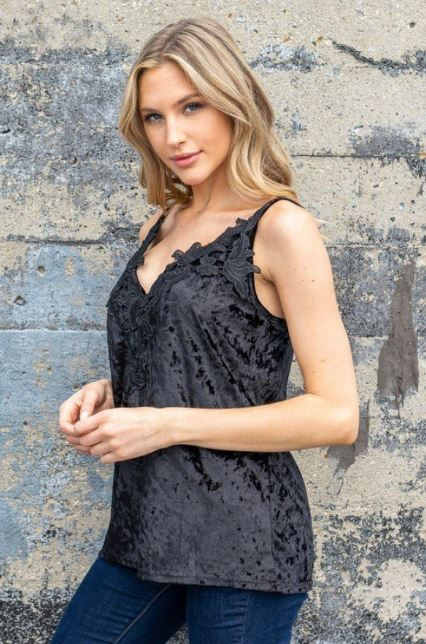 Crush ~ Velvet Lace Trim Cami (Black)
