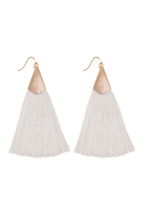 Ivory & Gold Tassel Earings - Sugar Honey Doll Boutique
