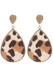 Leopard Teardrop Dangle Post Earrings (Grey, Ivory, Jet Black)