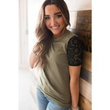 Lace Sleeve Tee-Olive (AA Collection)