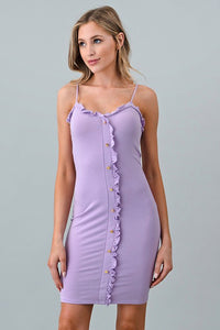Laffy Taffy~Ruffle Button Dress in Lavender - Sugar Honey Doll Boutique