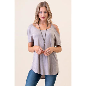 One Cold Shoulder Tee - Mauve - Sugar Honey Doll Boutique