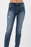 Mid Rise Boyfriend Jeans W/ Cuffed Hem - Sugar Honey Doll Boutique