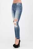 Skinny Mid-Rise Destructed Knee Jeans - Sugar Honey Doll Boutique